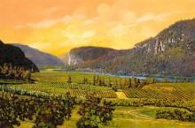 Пейзаж с виноградникамии на берегу реки - Борелли, Гвидо (20 век)