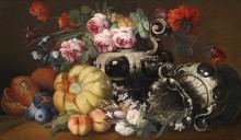 Цветочно-фруктовый натюрморт с двумя декоративными вазами в стиле барокко - Брейгель, Абрахам