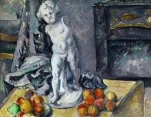 Натюрморт с фруктами и статуэткой - Сезанн, Поль