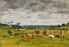 Пейзаж с пасущимися коровами - Буден, Эжен