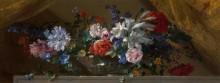 Цветы в стеклянной вазе на мраморном выступе - Моннуайе, Жан-Батист