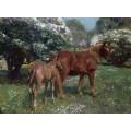 Весна, лошади на лугу , 1909 - Маннингс, Альфред Джеймс