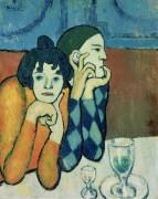 Арлекин и его подружка (странствующие гимнасты) - Пикассо, Пабло