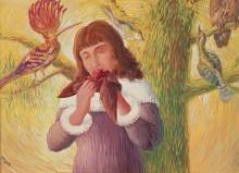 Девушка, поедающая птиц (Удовольствие) - Магритт, Рене