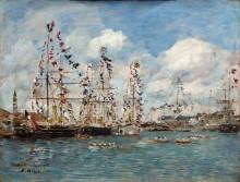 Корабли в порту Довиля, украшенные флагами - Буден, Эжен