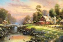 Пейзаж с деревушкой на закате дня - Кинкейд, Томас