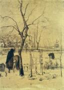 Заснеженный пасторский сад с тремя фигурами (Parsonage Garden in the Snow with Three Figures), 1885 - Гог, Винсент ван