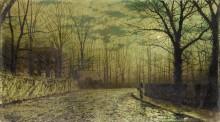 Фигура на залитой лунным светом дороге, улица Сент-Джонс, Райд, остров Уайт - Гримшоу, Джон Аткинсон