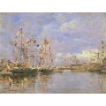 Украшенные флагами корабли в порту Довиля - Буден, Эжен