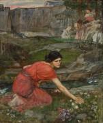 Девушка, собирающая цветы у ручья - Уотерхаус, Джон Уильям