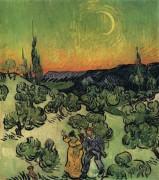Пейзаж с гуляющей парой и полумесяцем (Landscape with Couple Walking and Crescent Moon), 1890 - Гог, Винсент ван