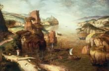 Пейзаж с проповедью Христа у моря Галилейского - Брейгель, Питер (Старший)