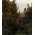 Пейзаж с пастушкой - Бёклин, Арнольд
