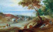 Холмистый пейзаж с путниками на дороге - Брейгель, Ян (младший)
