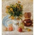 Ваза с цветами, кофейник и фрукты - Гог, Винсент ван