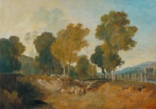 Пейзаж с деревьями у реки и мостом - Тернер, Джозеф Мэллорд Уильям