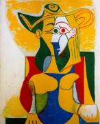 Сидящая женщина с желтым и зеленым, 1962 - Пикассо, Пабло