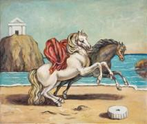 Две лошади на берегу моря - Кирико, Джорджо де