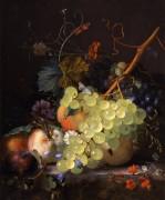 Натюрморт с виноградом и персиками на столе - Хейсум,  Ян ван