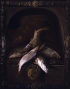 Натюрморт  с рыбой в резной каменной нише - Джиллинг, Якоб