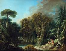 Лесной пейзаж с фигурами - Буше, Франсуа
