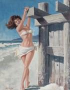 Брюнетка в белом бикини на пляже - Сарноф, Артур