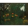 Тропический пейзаж с охотниками и тигром - Руссо, Анри
