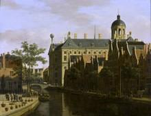 Улица Ньивезейдс Ворбюргваль с цветочным рынком в Амстердаме - Беркхейде, Геррит Адрианс