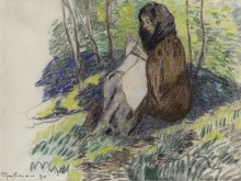 Сидящая женщина, которая шьет, 1890 - Гийомен, Арманд