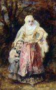 Восточная женщина с ребенком - Диас де ла Пенья, Нарсис