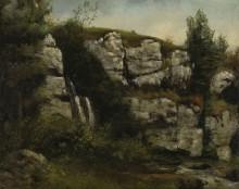 Скалистый пейзаж с водопадом - Курбе, Гюстав