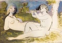 Обнаженная и играющий флейтист, 1932 - Пикассо, Пабло