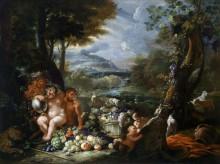 Силен и кентавры с фруктами на фоне пейзажа - Брейгель, Абрахам