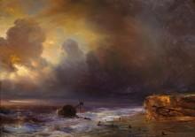 Облачное небо над берегом моря - Гюден, Теодор