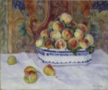 Натюрморт с персиками и грушами - Ренуар, Пьер Огюст