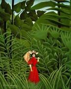 Женщина в красном на прогулке в лесу - Руссо, Анри