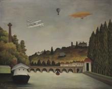 Вид моста Севр и холмов Кламара, Сен-Клу и Бельвю, с бипланом, воздушным шаром и дирижаблем - Руссо, Анри
