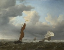 Голландские судна и лодки во время ветра - Велде, Виллем ван де (Младший)