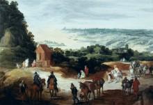 Панорамный пейзаж с путниками - Брейгель, Ян (Старший)