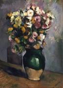 Натюрморт с цветами в оливковой вазе - Сезанн, Поль