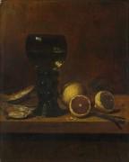 Натюрморт - кубок вина, устрицы и лимон - Велде, Ян ван де