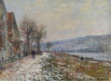 Берега реки в Лавакурт, снег, 1879 - Моне, Клод