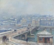 Мост Сен-Клу под снегом, 1905 - Манцана-Писсарро, Жорж