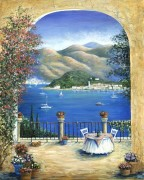 Вид на Белладжо и озеро Комо из террасы - Данлап, Мэрилин (20 век)