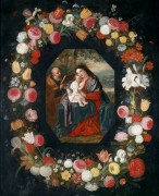 Святое Семейство в цветочной гирлянде - Брейгель, Ян (младший)