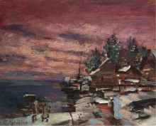 Деревня зимой - Коровин, Константин Алексеевич