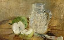 Натюрморт с разрезанным яблоком и графином - Моризо, Берта