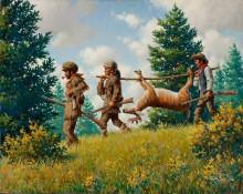 Охотники, несущие добытого оленя - Сарноф, Артур