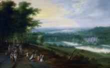 Речной пейзаж с путниками и аббатством за рекой - Брейгель, Ян (младший)