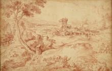 Пейзаж со старушкой с веретеном - Ватто, Жан Антуан